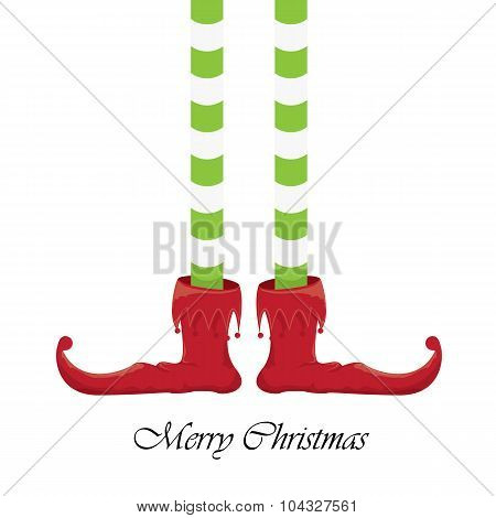 christmas cartoon elfs legs on white background
