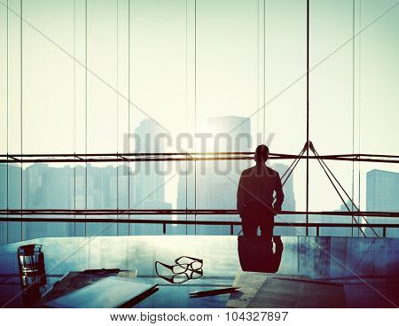 Businessman Thinking Aspirations Goals Contemplating Concept