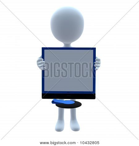 3D Guy Wtih A Computer Screen