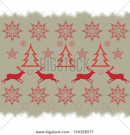 Christmas embroidery cross-stitch pattern with deer and snowflakes.