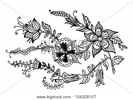 decorative garland of flowers graphic vector illustration