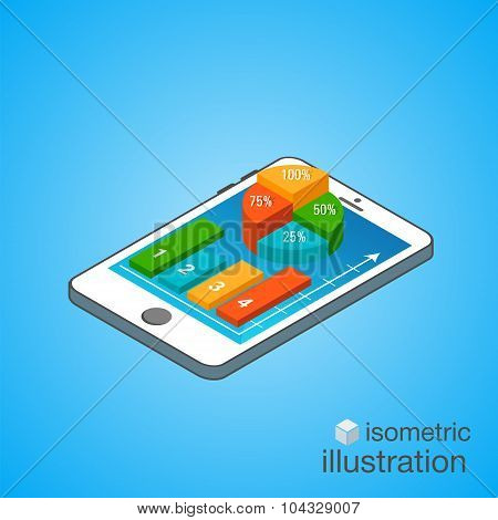 3D Smartphone With Colorful Graphs In The Isometric Projection. Modern Infographic Template. Isometr