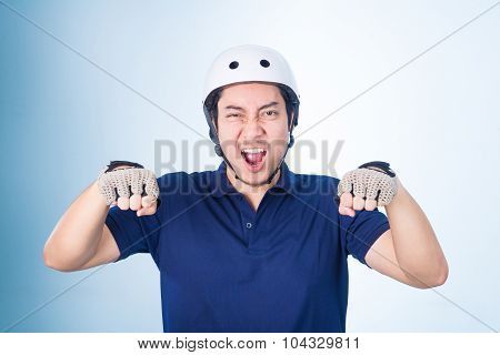 Asian Guy Gesture Biking Bicycle, With Bicycle Helmet And Gloves