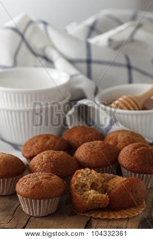 Banana Cake And Honey Sweet Pastries Dessert Still Life Closeup