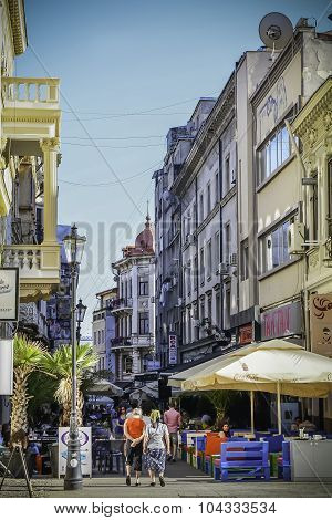 Bucharest- September 27: Tourists Visit Old Town On September 27, 2015 In Bucharest. Bucharest Is On