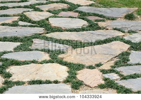 Design Floor Of Pavement With Stone And Grass