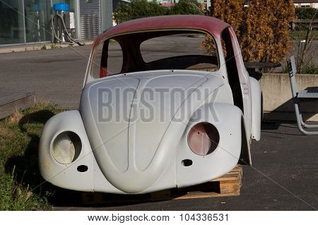 Rural Norway - August 17, 2014: Volkswagen Beetle Car Body That's In The Process Of Being Restored