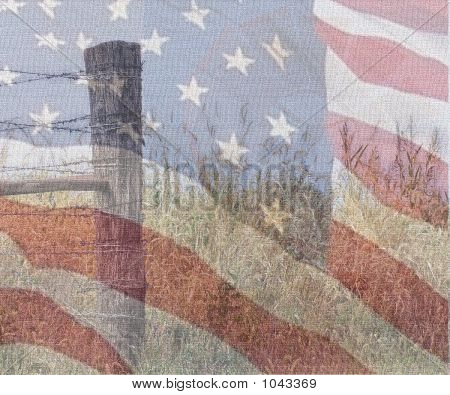 Flag And Fence On Canvass
