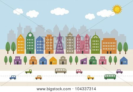 Tall Buildings And Houses In City