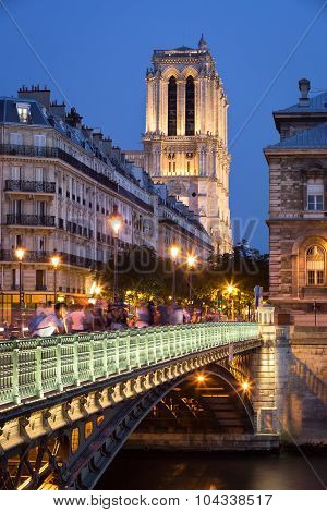 Pont D'arcole And Notre Dame Cathedral, Ile De La Cite, Paris