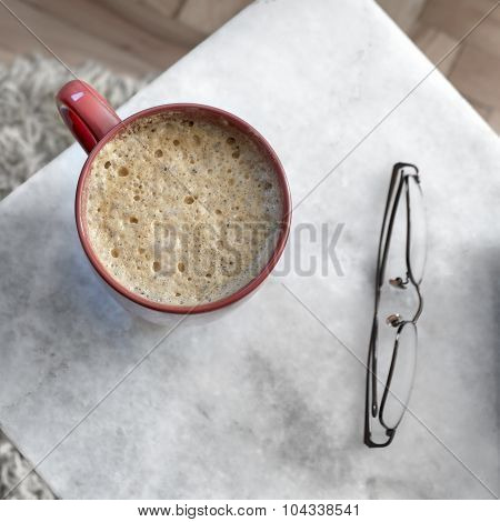 Coffee In Red Cup  On A Marble Table
