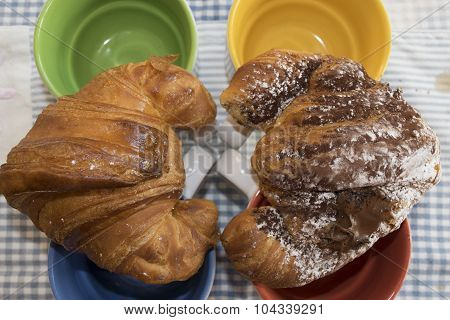 Croissant At The Honey And At The Molten Chocolate