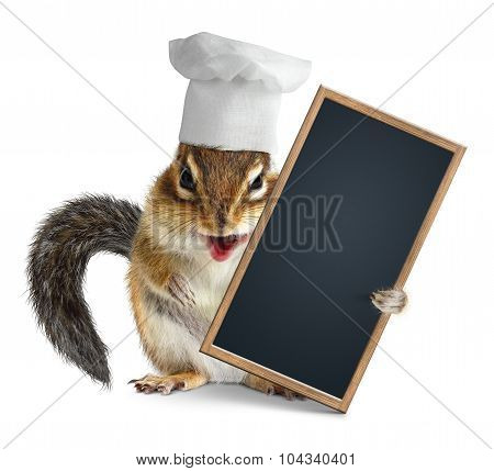 Funny Chipmunk With Chef Cook Hat Hold Empty Menu Blackboard
