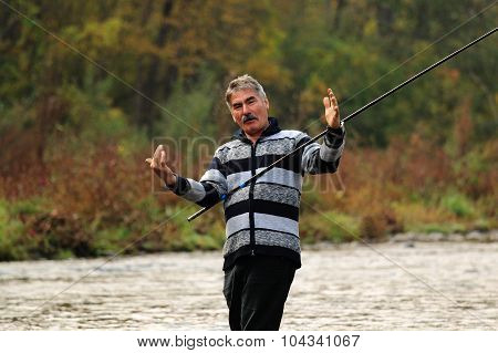 fishing in forest river