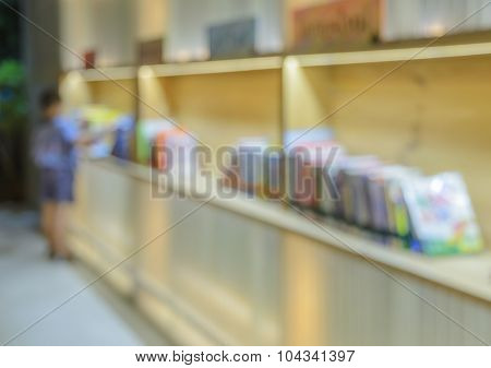 Blur Abstract Background Of Public Library, Read A Book