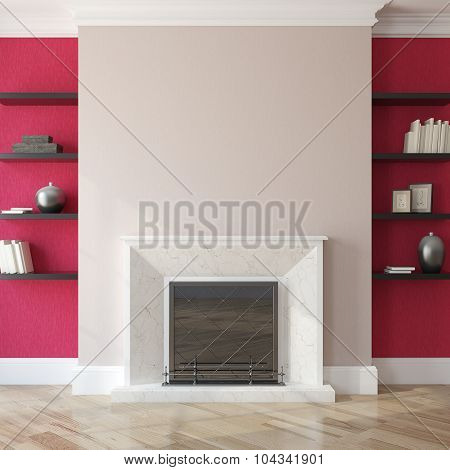 Interior With Fireplace. 3d rendering.