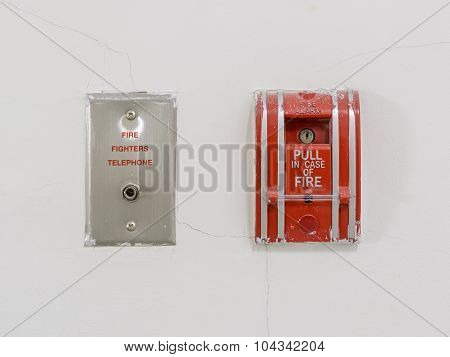 Red Fire Alarm Pull Station On Wall
