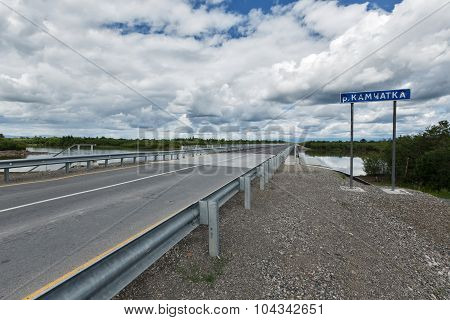 Road Bridge Over River Kamchatka. Russia, Far East
