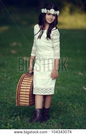 vintage girl with picnic basket