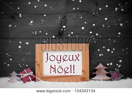 Gray Frame With Joyeux Noel Means Merry Christmas, Snowflakes