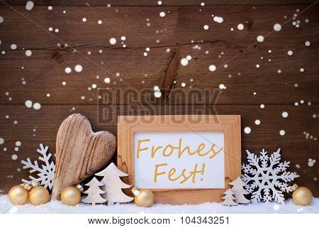 Golden Decoration, Snow, Frohes Fest Means Christmas, Snowflakes