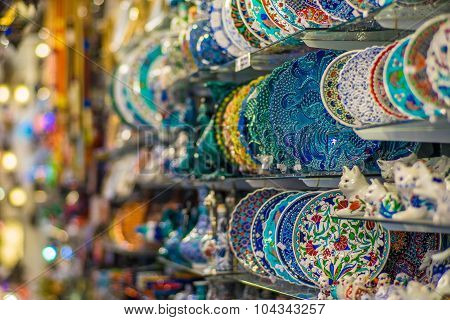 Pottery Plates In Arts & Crafts Shop, Bodrum
