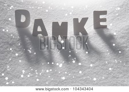 White Word Danke Means Thank You On Snow, Snowflakes