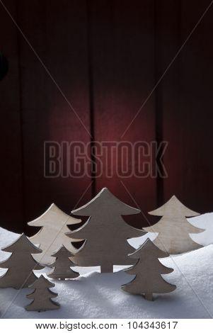 Four White Wooden Christmas Trees, Snow