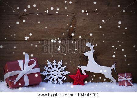Red Christmas Card With Decoration, Copy Space, Snowflakes, Snow