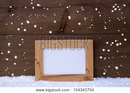 Christmas Card With Picture Frame, Copy Space, Snowflakes, Snow