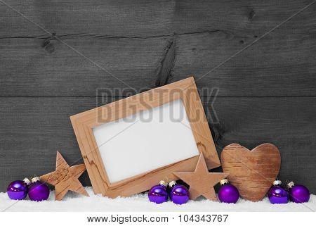Gray Purple Christmas Decoration Copy Space, Frame