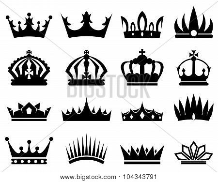 Crowns silhouette set