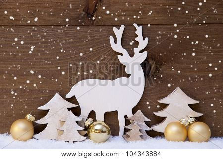 Golden Christmas Decoration, Snow,Tree And Reindeer, Snowflakes