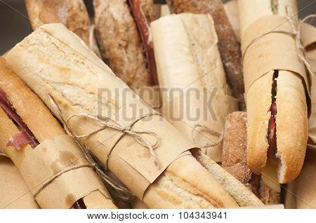 Homemade baguette sandwiches