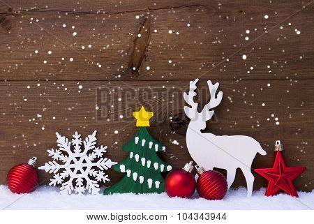 Christmas Decoration, Reindeer, Snowflakes, Green Tree, Balls