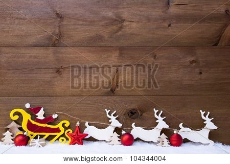 Santa Claus Sled, Reindeer, Snow, Copy Space, Red Balls
