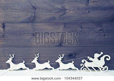 White Vintage Santa Claus Sled, Reindeer, Snow, Copy Space