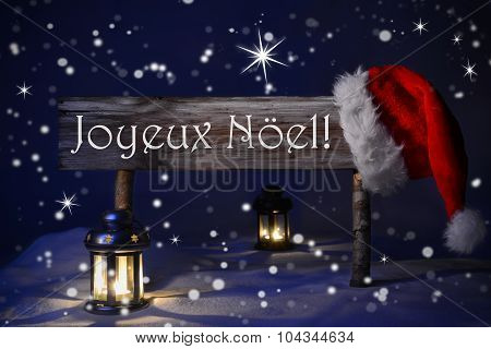 Sign Candlelight Santa Hat Joyeux Noel Means Merry Christmas