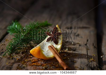 Christmas Food Decoration, Orange, Cinnamon, Anise, Fir Branch