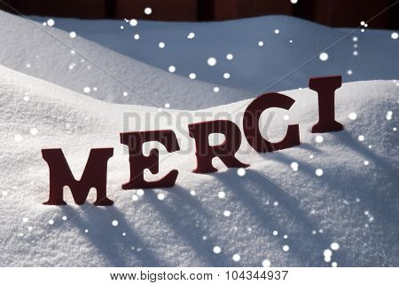Christmas Card With Snow, Merci Mean Thank You, Snowflakes