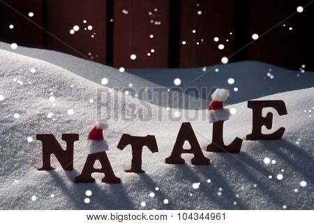 Card With Santa Hat And Snow, Natale Mean Christmas, Snowflakes