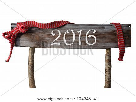 Brown Isolated Christmas Sign 2016, Red Ribbon