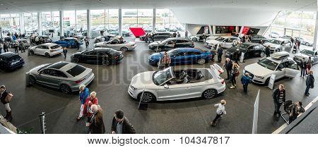Baden-Baden, Germany - October 10, 2015: New models of the brand Audi in a dealer's showroom in Baden-Baden, Germany