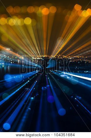 Abstract Zoom Blur City Bokeh Lights Background