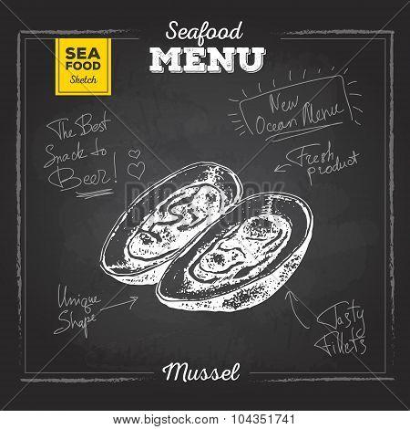 Chalk Drawing Sketch Set Of Seafood. Mussel Illustration