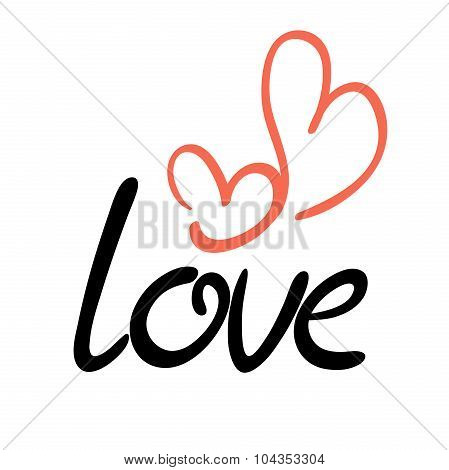 Love Inscription With Couple Of Hearts