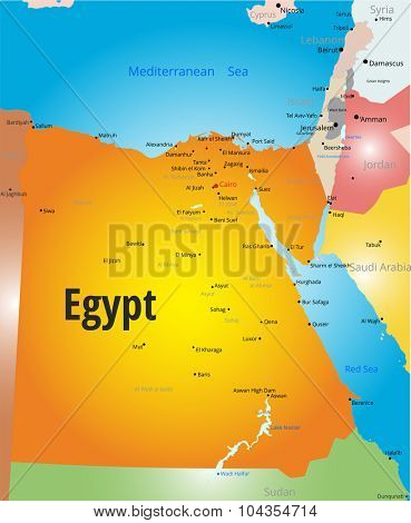 Vector color map of Egypt country