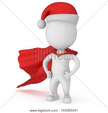3D Man - Brave Superhero Santa Claus With Arms Akimbo