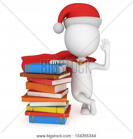 3D Santa Claus Stand Near Pile Of Books