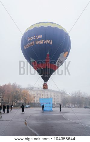 Sofia Square In Veliky Novgorod with balloon